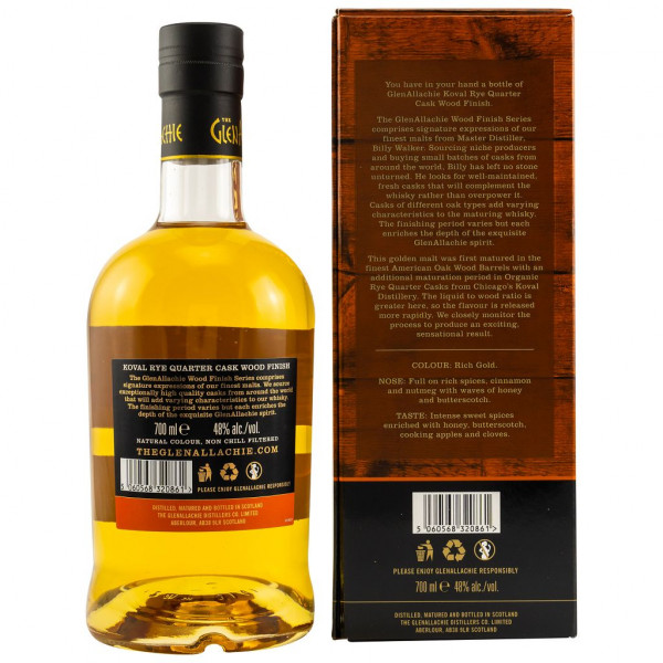 GlenAllachie 8 Jahre Koval Rye Quarter Cask Wood Finish back